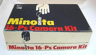 1970's Minolta 16-ps Camera Kit Boxed Set w Flashgun Film Case Adaptor Manual +