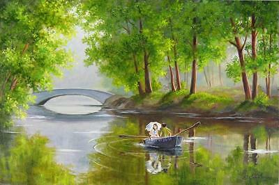 Paint By Numbers Kit + 3 Brushes 50*40cm 8152 Boating Lovers AU Stock S6