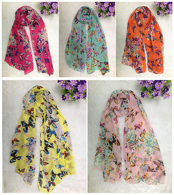 Women Butterfly Floral Print Neck Shawl Scarf Scarves Wrap Stole Chiffon Gift