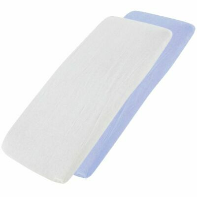4x Fitted Sheets Compatible with Snuzpod Bedside Crib 100 % Cotton - White / Blu