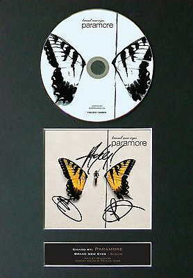 PARAMORE Brand New Eyes Signed CD Mounted Autograph Photo Prints A4 48
