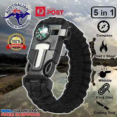 Survival Paracord Bracelet 5in1 - Compass, Flint, Outdoor Camping and Army Gear