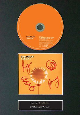 COLDPLAY Yellow Album Signed CD Mounted Autograph Photo Prints A4 46
