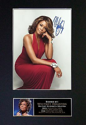 WHITNEY HOUSTON Signed Mounted Autograph Photo Prints A4 213