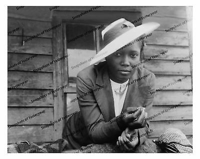 Vintage photo-African American woman in hat-8x10 in.