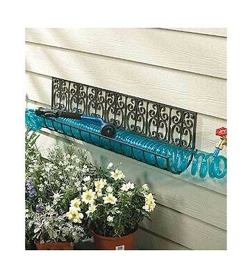 "48"" Powder-Coated Wrought Iron Coiled Hose Basket"