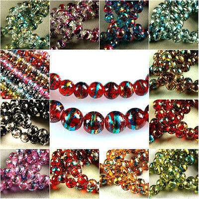 100 x 6 MM ~50 x 8 MM~ MULTICOLOUR~ROUND~DRAWBENCH~TRANSPARENT~GLASS BEADS
