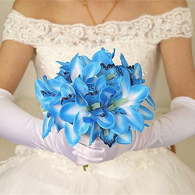 12-Head Decor seta artificiale orchidee fiori da sposa Bouquet blu