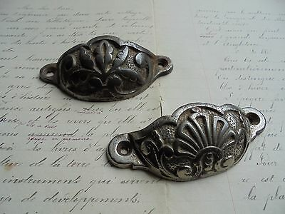 French antique metal cabinet handles or any project charming patterned, stamped