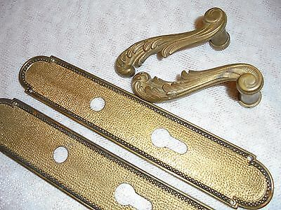 French vintage bronze door plates & handles ket hole patina solid gorgeous