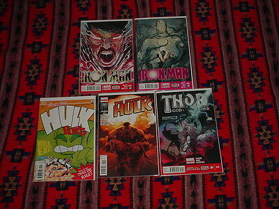 Lot of 5 Different Marvel Super Hero Comics (Hulk, Iron Man and Thor)
