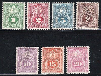 PARAGUAY - SCOTT 23 -29 - 1887 SEAL of the TREASURY COMPLETE SET - LOOK!