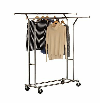 DecoBros Supreme Commercial Grade Double Rail Garment Rolling Rack, Chrome Finis
