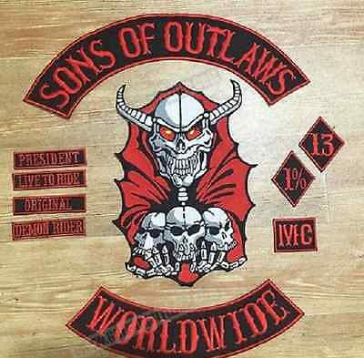 Sons Of Outlaws Embroidered Patches Iron On Full Back Vest 40CM Rocker Patches