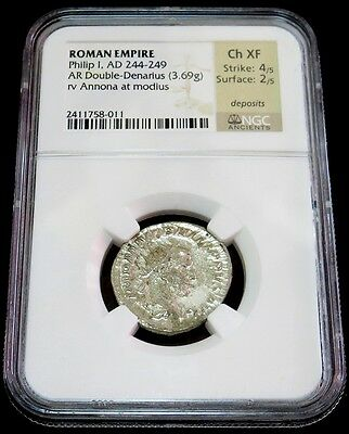 Year 244- 249 Ad Silver Roman Empire Double Denarius Philip I Coin Ngc Choice Xf