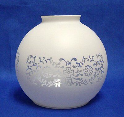 Vintage White Frosted Globe Glass Light Shade Etched Lacey Floral Design