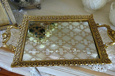 LARGE GOLD MIRROR TRAY symmetrical  pattern shabby French dining ORNATE wedding