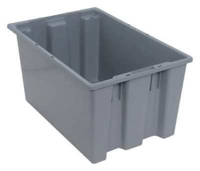 Nest and Stack Container, 23-1/2 in, Gray QUANTUM STORAGE SYSTEMS SNT240GY