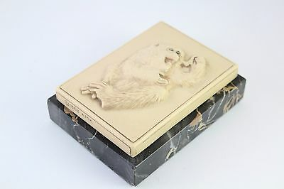 1969 AMR Alva Museum Replica Japanese Monkey Holding Butterfly Marble Sculpture • CAD $56.85