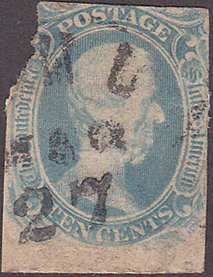 "Confederate CSA #9 ""T-E-N"" Cent Stamp"