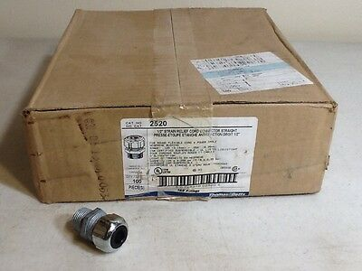 "Thomas & Betts T&B 2520 1/2"" Strain Relief Cord Connector Straight CGB QTY 100"