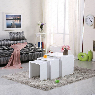 Modern High Gloss Set of 3 Nest Coffee Table Nested Side Table Living Room