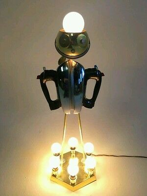 Vintage Iron Robot Atomic Ufo Light Lamp Sputnik Eyeball Chandelier Torino Brass