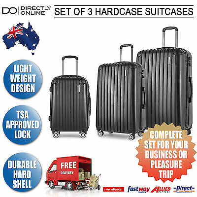 New Set of 3 Suitcases Hardshell Case Travel Trolley Carry On Bags Wheels Black