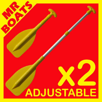 2 x MINI YELLOW TELESCOPIC COMPACT BOAT PADDLE Oar Canoe Inflatable  FREE POST