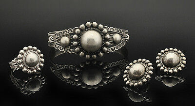 Nice Set ! Fred Harvey Era Concho Silver Cuff Bracelet, Ring and Earrings