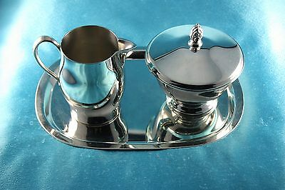 Paul Revere Silver Plate Reproduction Cream and Sugar w/ Tray
