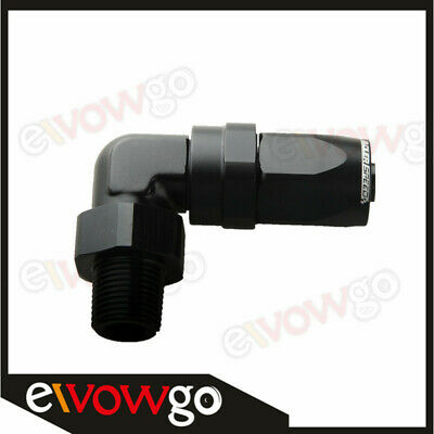 "Black -8 AN AN -8 to 3/8"" NPT 90 Degree Swivel Hose End Fitting Adaptor"