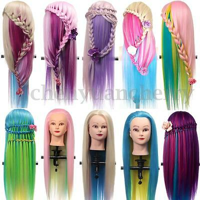 """27"""" Salon Colorful Long Hair Mannequin Practice Hairdressing Training Head Clamp"""