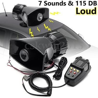 12V 115db 7 Sounds Loud Air Horn Siren For Car Boat Van Truck PA System w/ Mic
