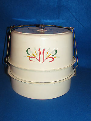 Antique Hand Painted Tin 1930's 3 Tier Cake / Pie Saver Carrier W Glass Lid Knob