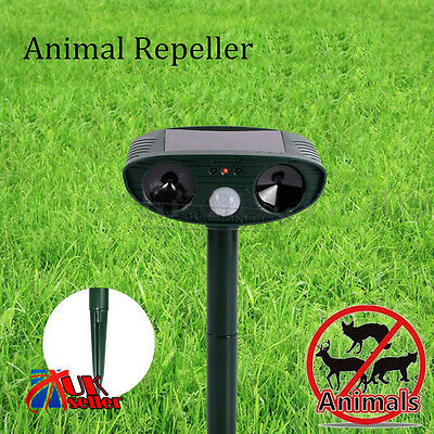 Solar Power Dog Cat Dual Ultra Sonic Repeller PIR Animal Fox Scarer Deterrent