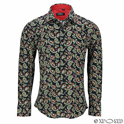 New Mens Black Vintage Paisley Cotton Shirt Long Sleeve Smart Casual Summer Top