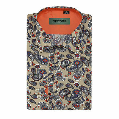 Mens Cotton Slim Fit Cream Large Paisley Print Shirt Long Sleeve Size S - 2XL