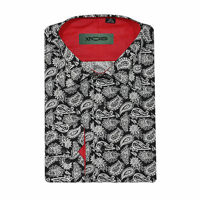 Mens White on Black Vintage Paisley Print Cotton Shirt Long Sleeve Smart Casual