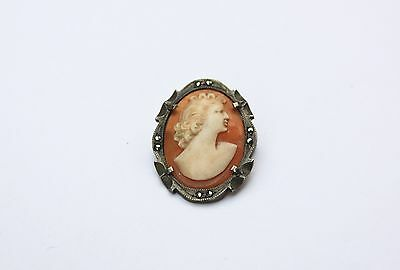 800 solid silver marcasite and cameo vintage / antique brooch
