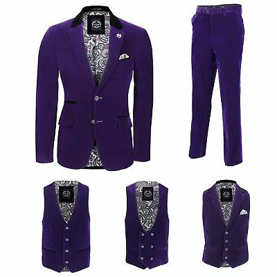 Mens Purple Velvet Vintage 3 Piece Suit Blazer Waistcoat Trouser Sold Separately