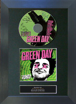 GREEN DAY Uno Signed CD Mounted Autograph Photo Prints A4 32