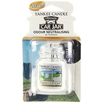 Yankee Candle Jar Car Home Hanging Air Freshener Freshner Scent - CLEAN COTTON
