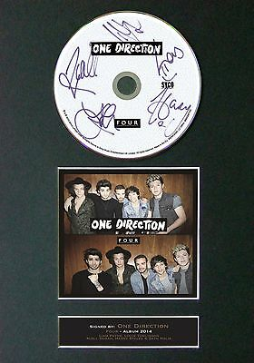 ONE DIRECTION FOUR Signed CD Mounted Autograph Photo Prints A4 63