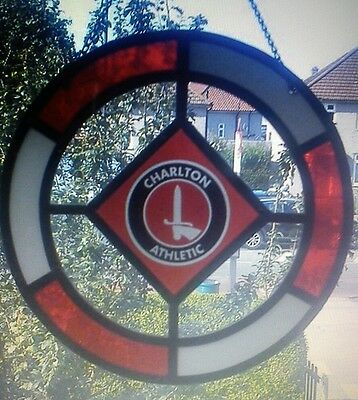 Charlton Athletic glass window hanging / suncatcher.  Plus leather fob Keyring