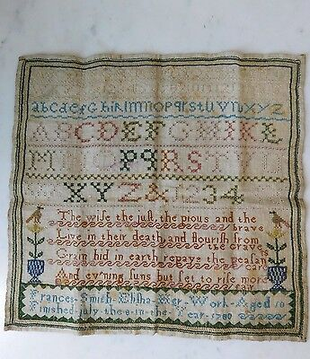 "GEORGIAN SAMPLER ""Frances Smith Elijah age 10"" 1780 SUPERB CONDITION"