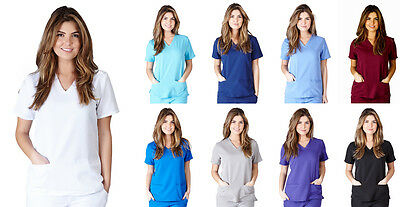 Ultra Soft Medical Nurse Uniform Womens Junior Fit 3 Pocket V-Neck Scrup Top