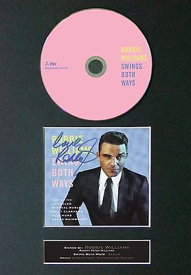 ROBBIE WILLIAMS Swing Both Ways Signed CD Mounted Autograph Photo Prints A4 12