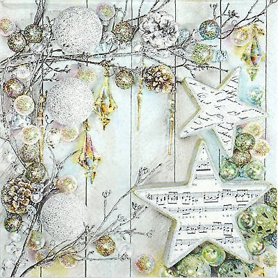 4x Single Table Party Paper Napkins for Decoupage Craft Vintage Silver Christmas