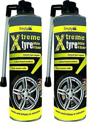 2 X 500ml Simply Tyre Seal  Inflator Seals Inflates Repair Puncture Emergency